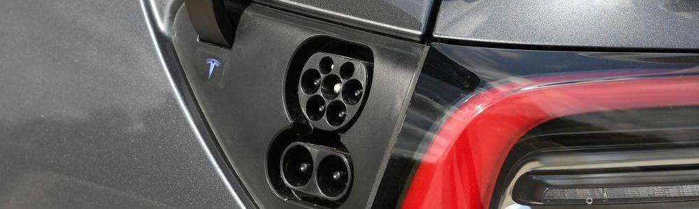 Black Tesla Model 3 Charging Port