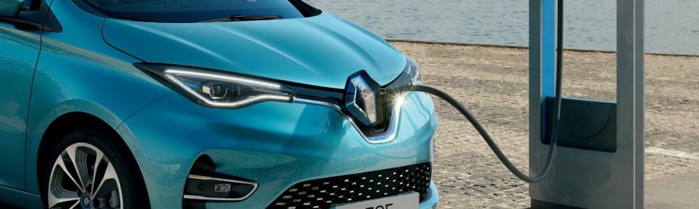 Blue Renault ZOE Charging