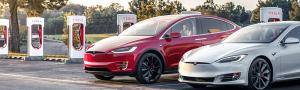 Red Tesla Model X and White Tesla Model S