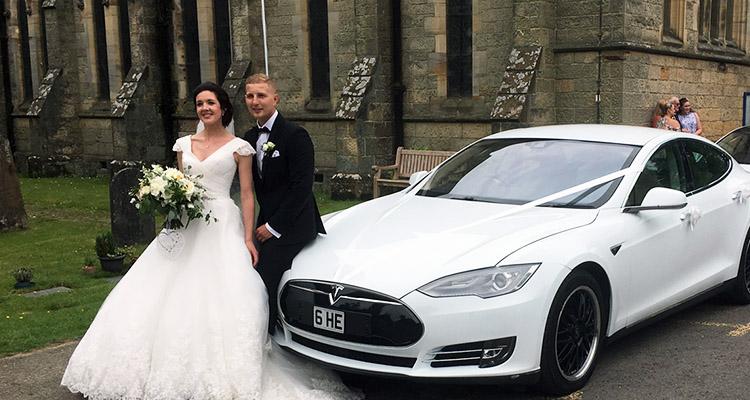 White Tesla Wedding Car