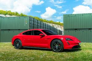 Red Porsche Taycan