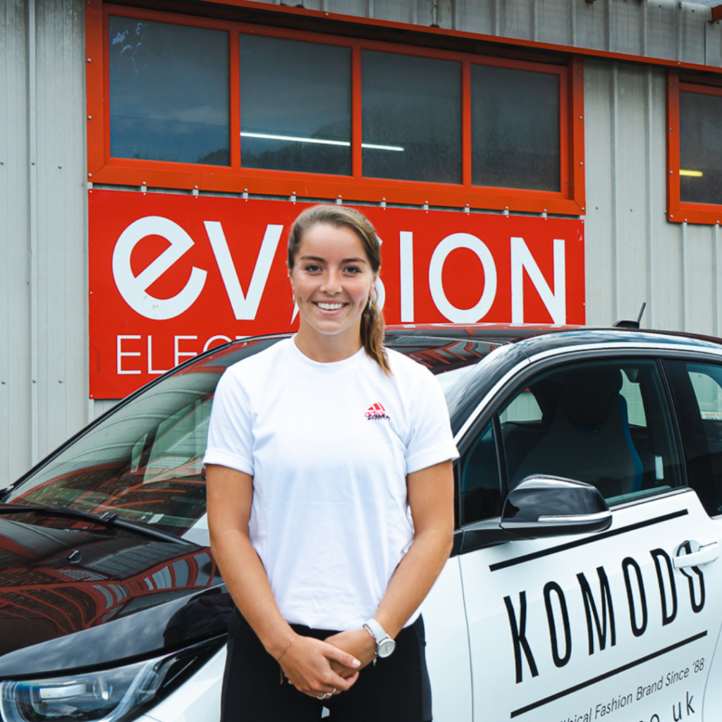 Jodie Burrage with EVision BMW i3